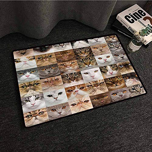 Cat Lover Decor Collection Pet Door mat 36 Cat Heads Breed British Shorthair Turkish Angora Looking at Camera All Season General W35 xL59 Brown White Beige