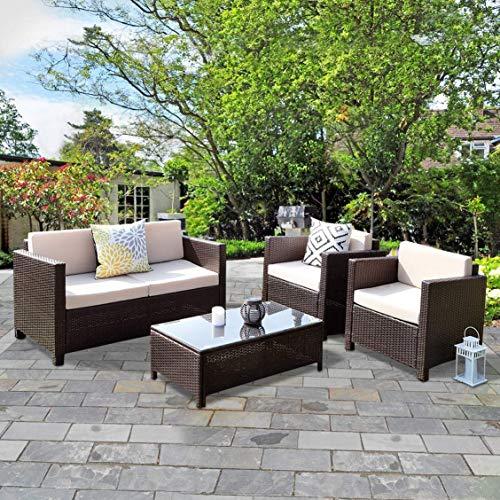 Wisteria Lane Outdoor Patio Furniture Set,4 Piece Conversation Set Wicker Sectional Sofa Loveseat Chair Brown Wicker,Beige Cushions -