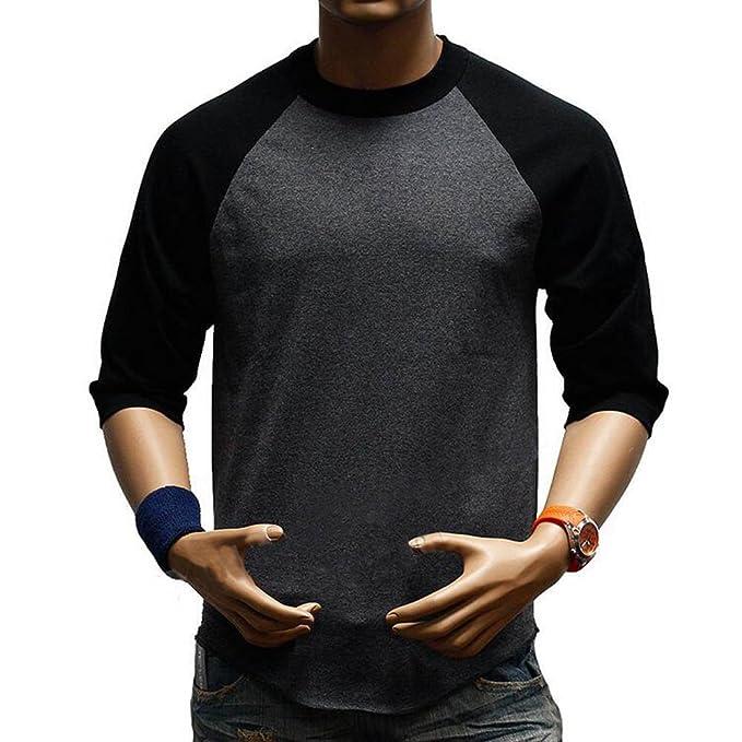 Blusas Tamaño Más Camisetas para Hombres Camisas Cuello Redondo Medias Mangas 1/2 Manga Tops
