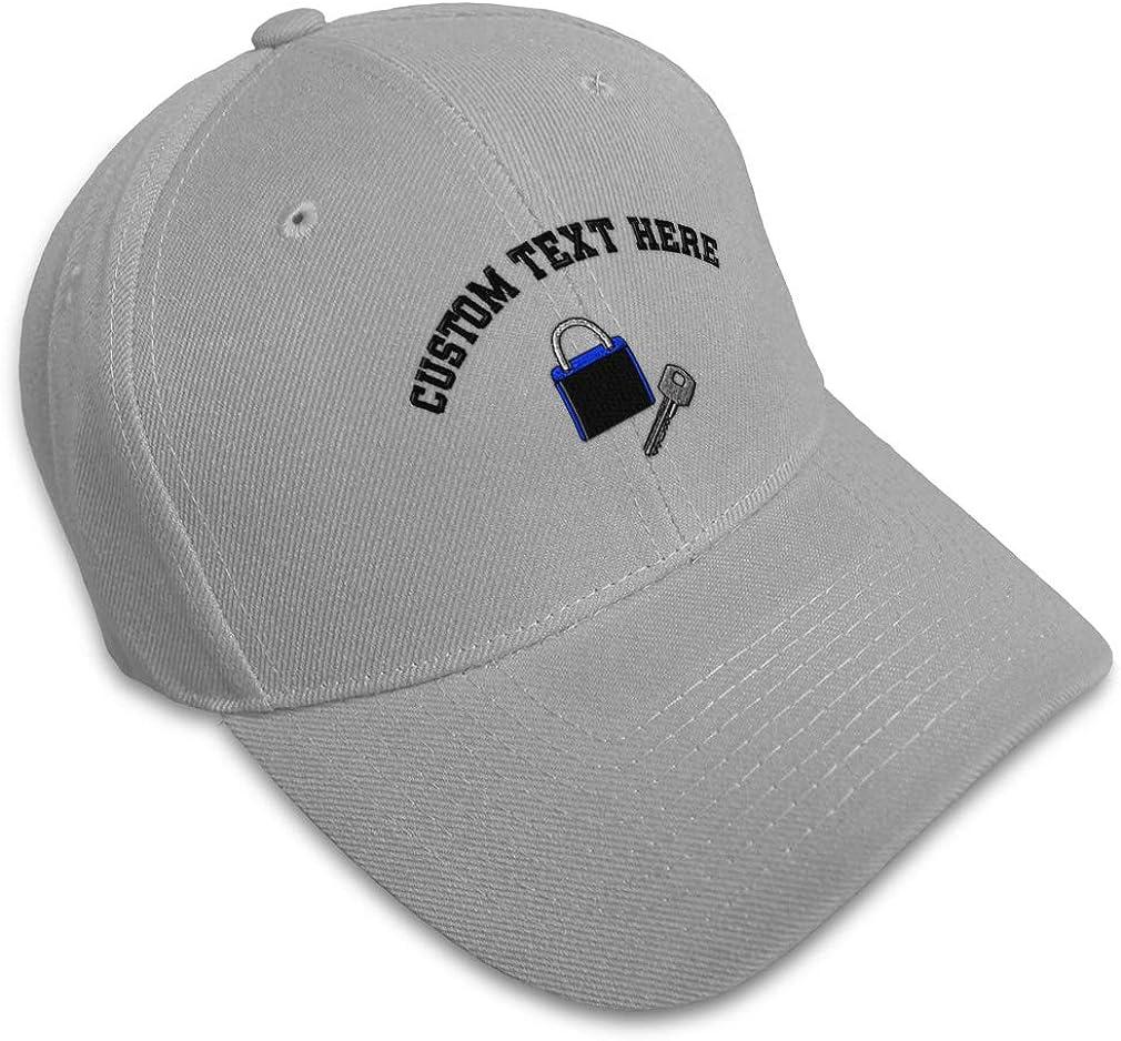 Custom Baseball Cap Padlock and Key Embroidery Acrylic Dad Hats for Men /& Women