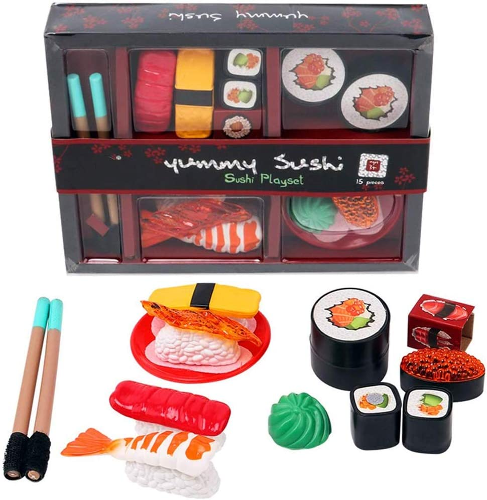 Japanese Sushi Dinner Bento Box Pretend Play Cutting Food Set for Kids (15 Pieces)