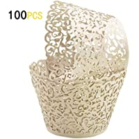 GOLF 100Pcs Cupcake Wrappers | Artistic Bake Cake Paper Filigree Little Vine Lace Laser Cut Liner Baking Cup Wraps Muffin CaseTrays for Wedding Party Birthday Decoration
