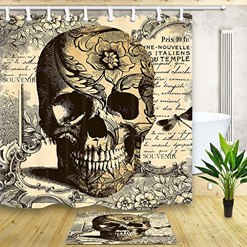 NYMB Custom Vintage Suger Skull 69X70in Mildew Resistant Polyester Fabric Shower Curtain Suit With 15.7x23.6in Flannel Non-Slip Floor Doormat Bath Rugs -