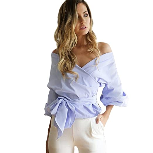 Mujeres blusa camiseta ropa, RETUROM Blusa vendedora caliente del vendaje de las mujeres atractivas de las tapas ocasionales del V-cuello de la camisa del hombro (S, Azul)