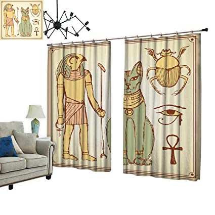 Amazon com: PRUNUS Room Darkening Curtain with Hooked Sketch