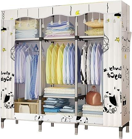 UDEAR Armoire de Chambre Adulte Armoire de Rangement Tissu Penderie Style  de Rideau,Blanc