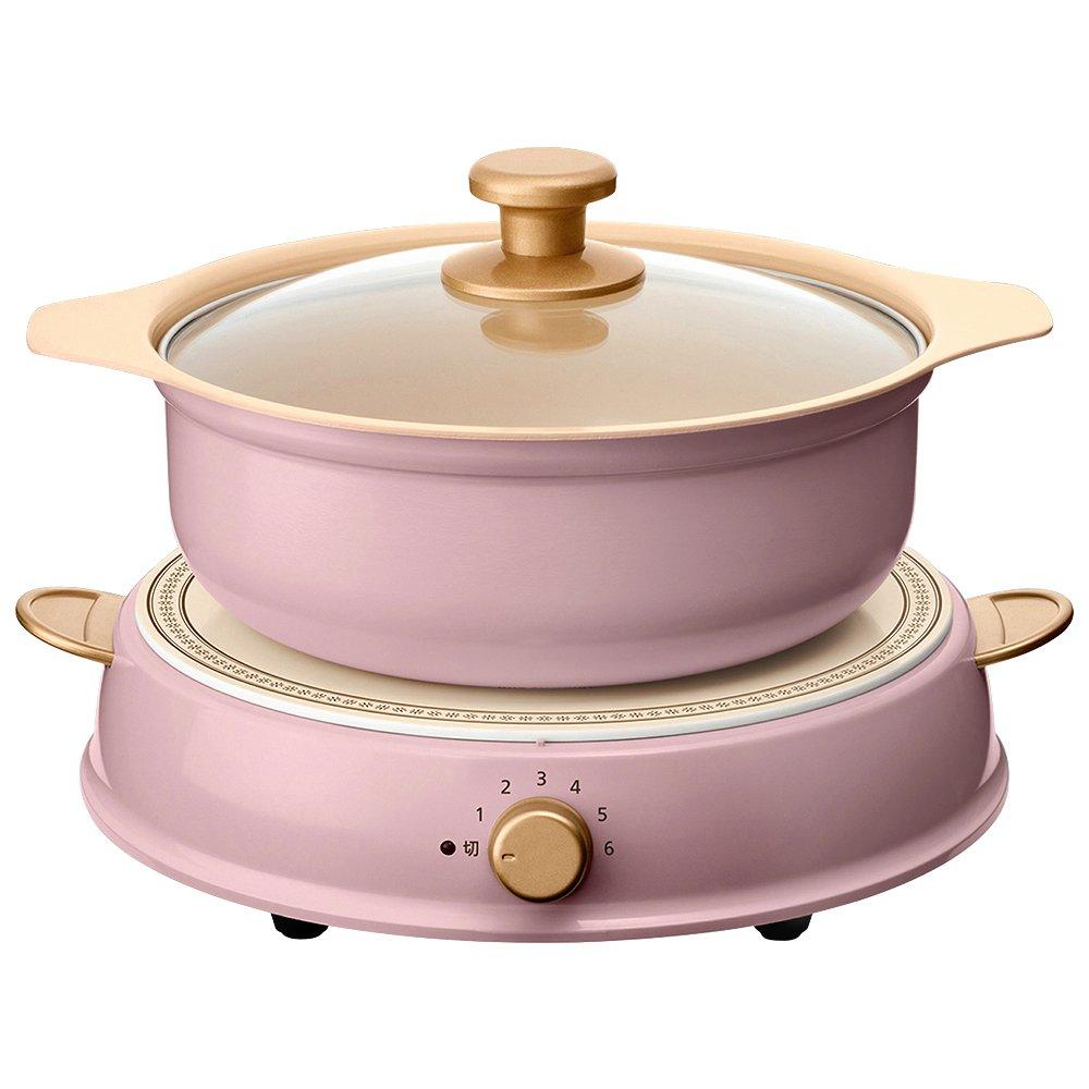 "IRIS OHYAMA ""Party induction cooker ricopa pan set"" IHLP-R14-PA (Ash pink)"