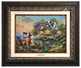 Thomas Kinkade Disney Mickey and Minnie Sweetheart Cove 9'' x 12'' Canvas Classic (Aged Bronze)