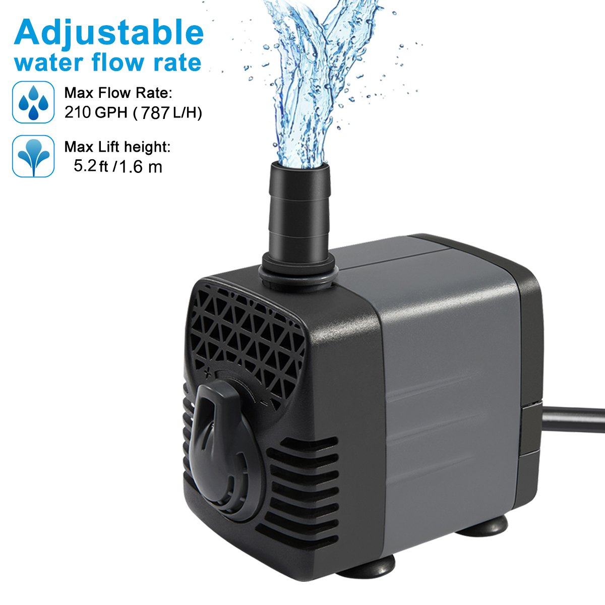 Ankway Upgraded 210GPH(787L/H, 15W) Submersible Water Pump Humanized Rotation Switch with 2 Nozzles for Pond, Aquarium, Fish Tank Fountain Water Pump Hydroponics, with 5.9ft (1.8M) Power Cord by Ankway