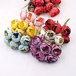 XGM GOU 60Pcs 3Cm Tea Rose Bud Artificial Flowers for Wedding Home Decoration Jewelry Accessories Fleurs Scrapbooking DIY Craft Supplies 83