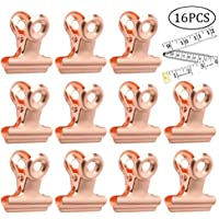 pengxiaomei 15 Pcs Bulldog Clips with 1 Pcs Bulldog Clips Soft Tape Measure Rose Gold Binder Clip Stainless,Metal Paper Clamp for Pictures, Photos, Home Office Supplies