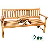 SAM® 3-Sitzer Gartenbank Lorenzo, integriertem einklappbarem Tisch, Holzbank Akazie, 157 x 60 cm, FSC® 100% zertifiziert