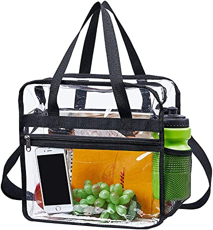 School Magicbags Clear Tote Bag Stadium Approved,Adjustable Shoulder Strap and Zippered Top,Stadium Security Travel /& Gym Clear Bag Perfect for Work Red Sports Games and Concerts-12 x12 x6