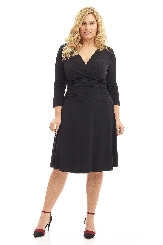 Rekucci Curvy Fit Plus Size Women\'s Slimming 3/4 Sleeve Tummy Control Dress