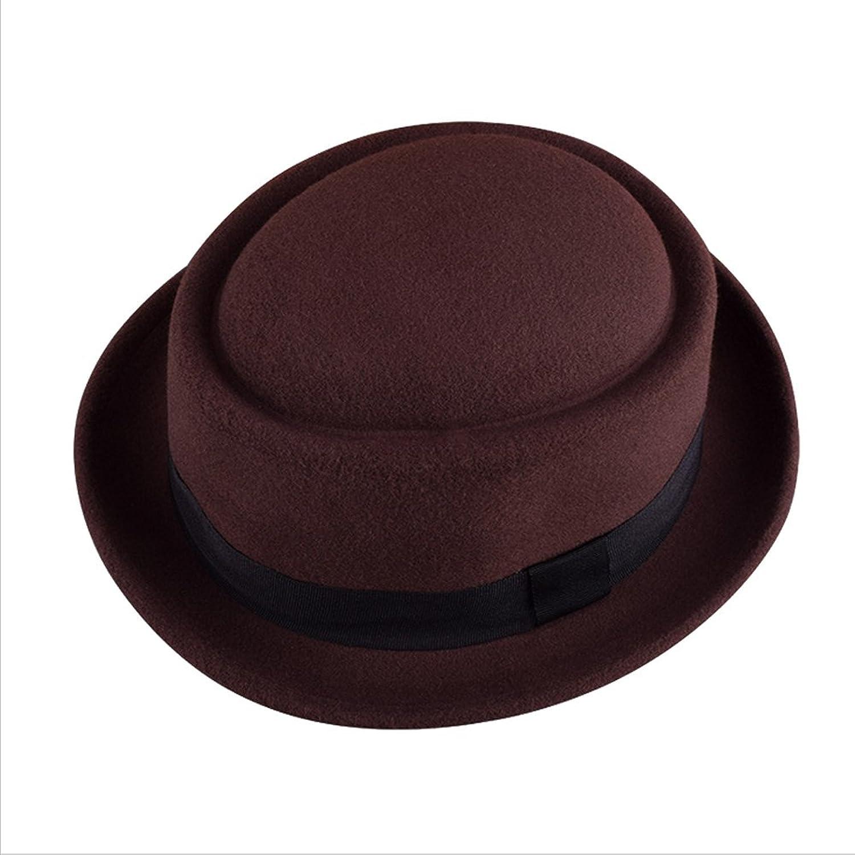 Surker Fashion New Women /Men Vintage Round Fedora Cloche Cap Wool Felt Bowler Hat
