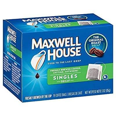 Maxwell House Original Blend Decaf Ground Coffee, Medium Roast, 19 Single Serve Coffee Bags (Pack of 4)