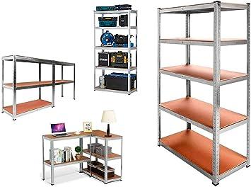 Nyana Home | Estantería Metálica Galvanizada 875kg | 5 Baldas | Medidas 180 x 90 x 40cm | Garaje Oficina Despensa
