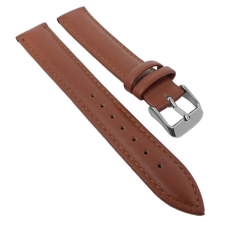 Uhrenarmband Minott | weiches Lederband gepolstert mit Naht 28710, Stegbreite:24mm, Schließe:Silbern, Farben:braun, Länge:XL-Extralang
