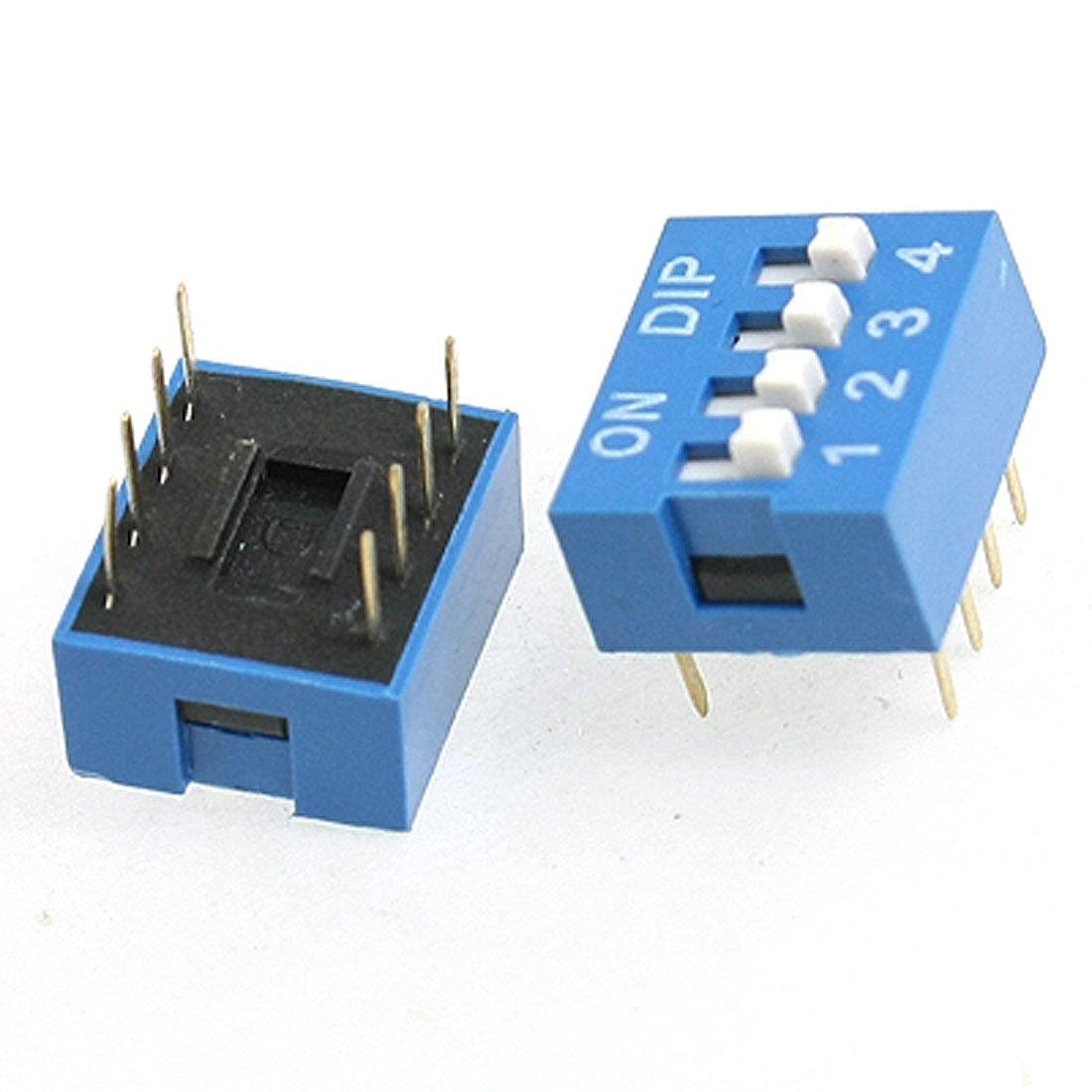 sourcingmap® 10 Stücke 2.54mm Pitch 4 Position DIP Schiebschalter Schalter schwarz de