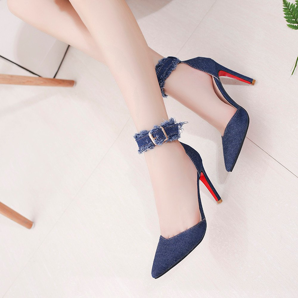 Nevera Womens Pointed Toe Ankle Strap Sandals Adjustable Buckle High Heel Dress Shoes