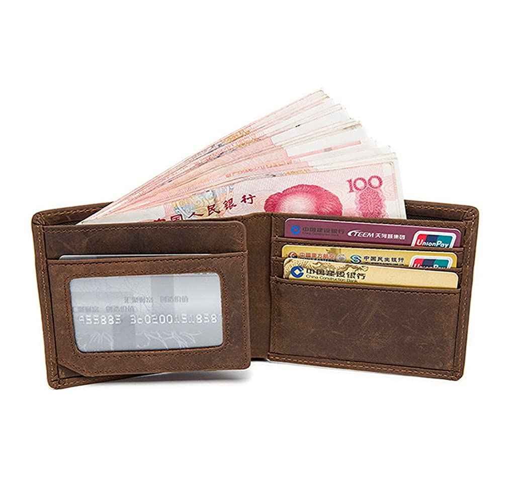 Mens Leather Wallet RFID Blocking Credit Card Holder Coin Pocket Purse 10x2x9CM,#1
