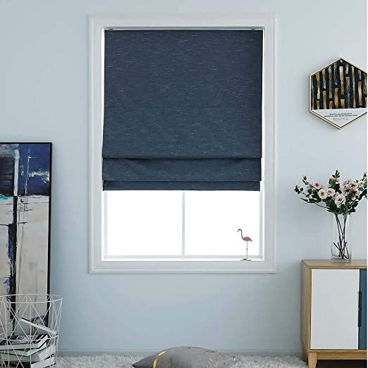 Amazon Com Washable Room Darkening Cordless Roman Shades For Windows Double Tone Color Jacquard Textured Woven Polyester Belmar Roman Blind For Living Room Nursery Bedroom 27 W 64 L Indigo Blue Home Kitchen