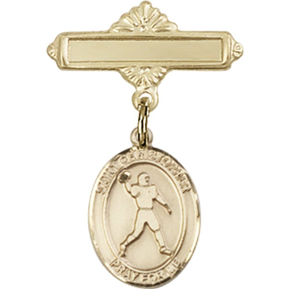 14kt Yellow Gold Baby Badge with St. Christopher/Football Charm and Polished Badge Pin 1 X 5/8 inches