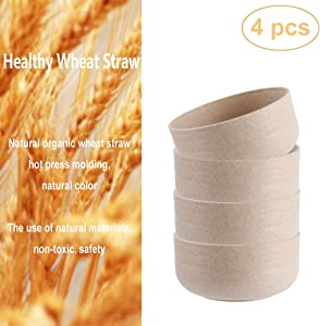 Unbreakable Cereal Bowls, Wheat Straw Bowls- 3 oz.for One Bowl, Lightweight Bowls Set for Salad, Rice, Soup, Fruit, Dessert, Microwave and Dishwasher Safe (4 Pieces)