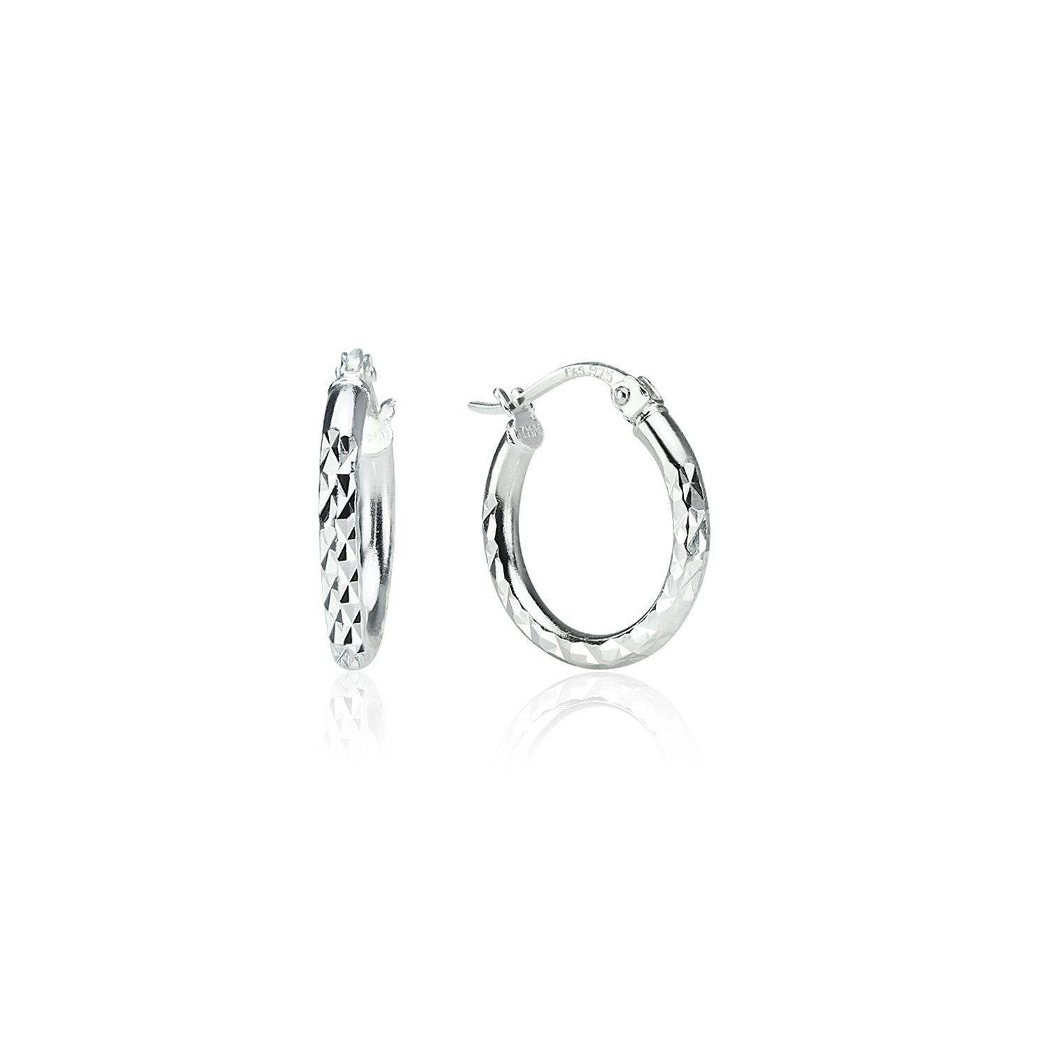 LOVVE Sterling Silver High Polished Round Diamond Textured Click-Top Hoop Earrings, 2x20mm