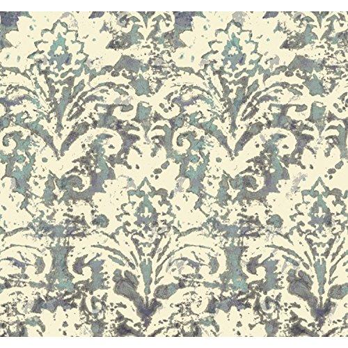 (York Wallcoverings Cloud Nine Batik Damask Removable Wallpaper, Purples/Blues)