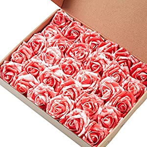 Marry Acting Artificial Flower Rose, 30pcs Real Touch Artificial Roses for DIY Bouquets Wedding Party Baby Shower Home Decor (30pcs Red White) 38