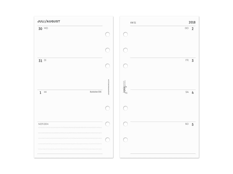 '2018/2019Calendario Líneas para Anillo Organizador Planificador &–Personal–95x 171–1Semana en 2páginas juniq paperworks