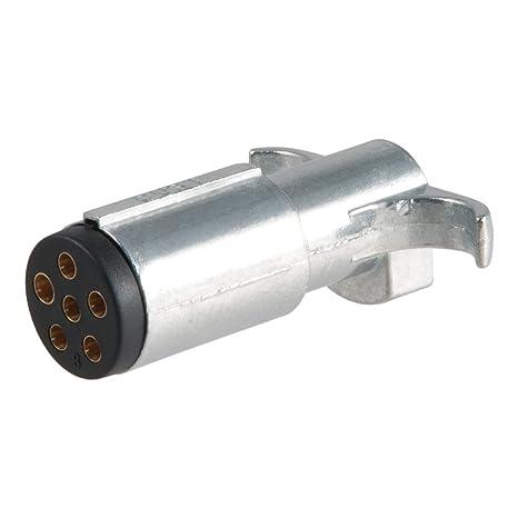 CURT 58080 Trailer-Side 6-Way Round Trailer Wiring Harness Plug, 6-Pin on