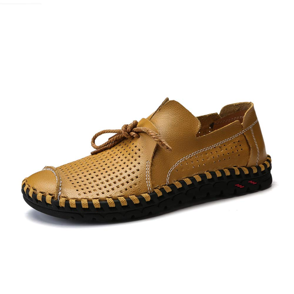 Yellow SRY-shoes Simple Men Drive Loafers for Casual Summer Leather Soft Sole Hollow Ventilation Boat Moccasins