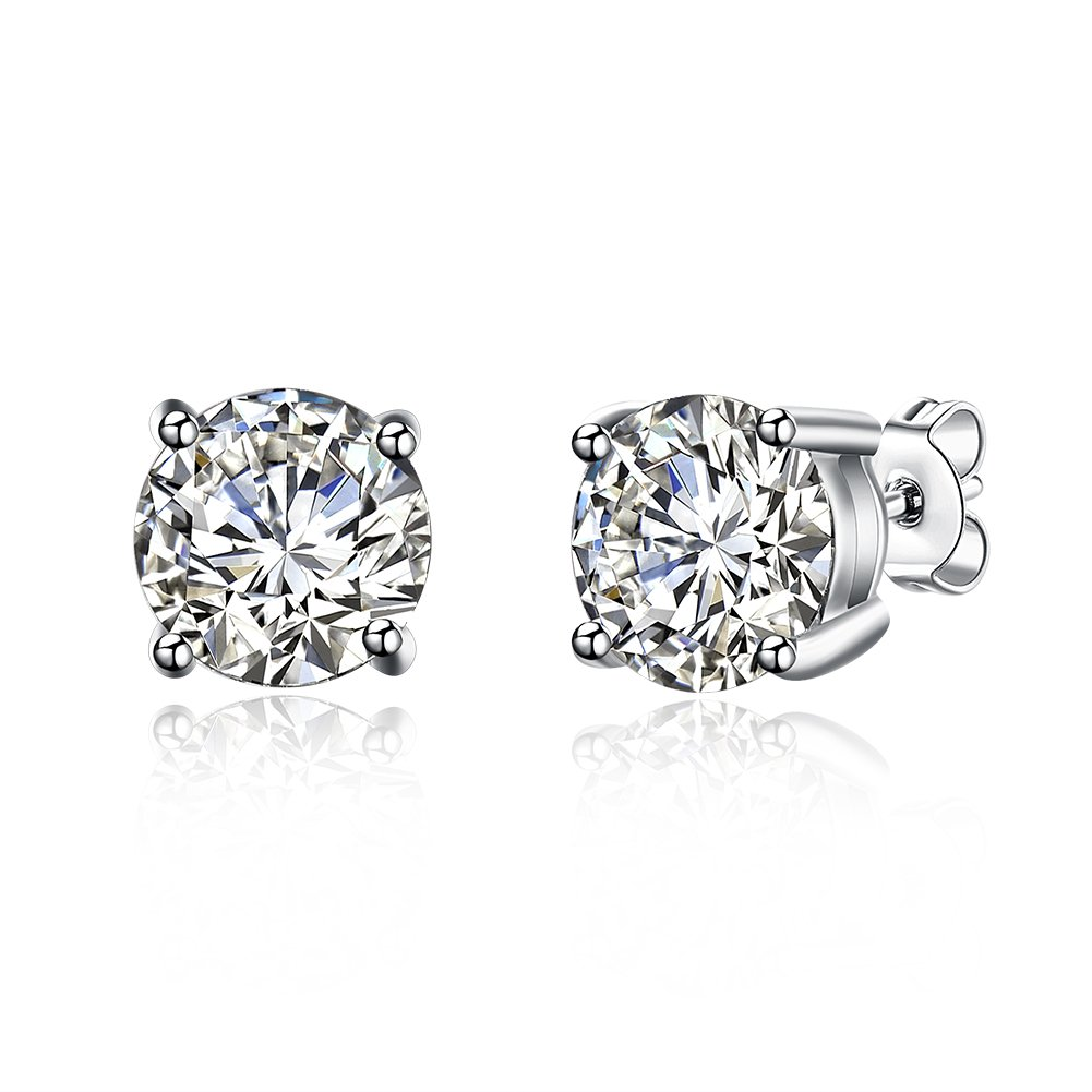 18K Gold Post & Sterling Silver 4 Prong Diamond Pure Brilliance CZ Stud Earrings CZ Stone Size's 7mm /1.25Ct, Back to school Gift