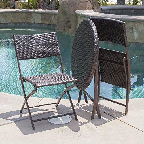 Belleze Folding Table Amp Chair Bistro Set Rattan Wicker