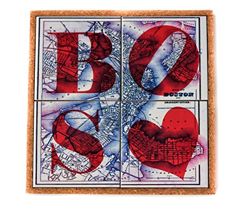 Boston Coasters and Trivet Set Map Coaster Hostess and Housewarming (Boston Trivet)