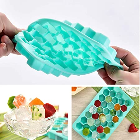 Cocktail BPA Free 38 Cubes Each Easy Release 2Pack Honeycomb Shape Silicone Ice Cube Molds for Chilling Bourbon Whiskey Beverages FDA//LFGB Approval AdorioVix Ice Cube Trays