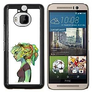 LECELL--Funda protectora / Cubierta / Piel For HTC One M9Plus M9+ M9 Plus -- Chica Ogro triste profunda patito feo verde --