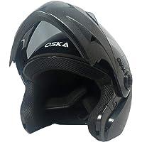 Steelbird SB-41 Oska Classic Flip Up Helmet Full Face Bike Riding Helmets For Man(620MM XLarge, Classic Black With Smoke Visor - Geared With Flip Up Down Feature -Aerodynamics Design)