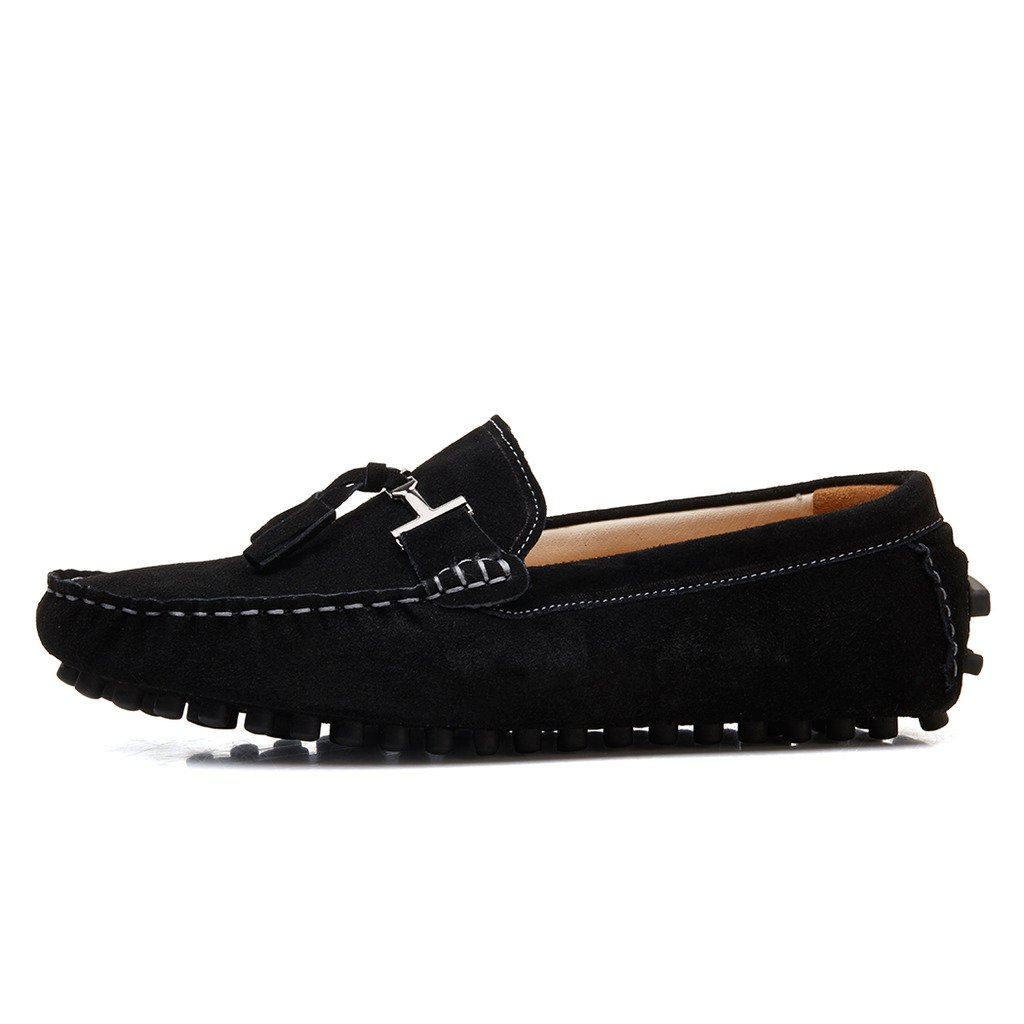 SUNROLAN 2026hei11 New Life Men's Casual Suede Leather Tassel Slip-On Loafers Outdoor Low Boat Shoes Driving Car Moccasins Black US 11 by SUNROLAN (Image #2)