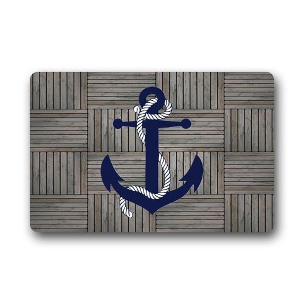 Libaoge Retro Nautical Anchor on Striped Rustic Old Barn Wood Doormat Welcome Mat Entrance Mat Indoor/Outdoor Door Mats Floor Mat Bath Mat