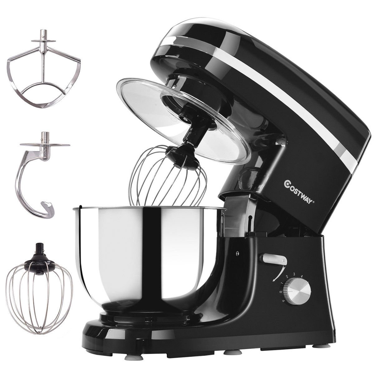 COSTWAY Tilt-head Stand Mixer 5.3Qt 6-Speed 120V/800W Electric Food Mixer with Mixer Blade, Dough Hook, Whisk, Splash Guard, Stainless Steel Bowl(Black) by COSTWAY