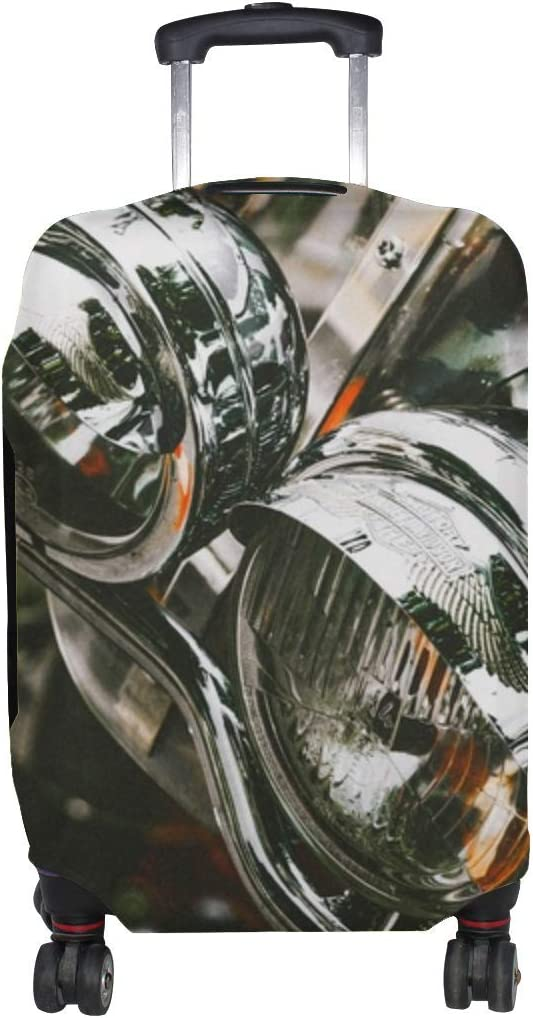 Motorcycle Headlights Bike Pattern Print Travel Luggage Protector Baggage Suitcase Cover Fits 18-21 Inch Luggage