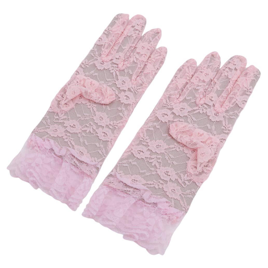 KISSFRIDAY Ladies Lace Gloves Elegant Short Gloves Courtesy Gloves for Wedding Dinner Parties Pink