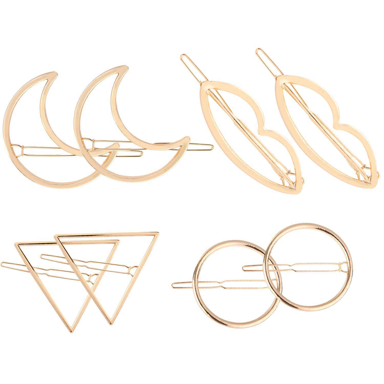 Vococal-8 UNIDS Moda Aleación de Metal Triángulo Círculo Luna Forma de Labio Clips para el cabello Clips de pelo Pasadores para Mujeres Niñas Accesorios para el cabello