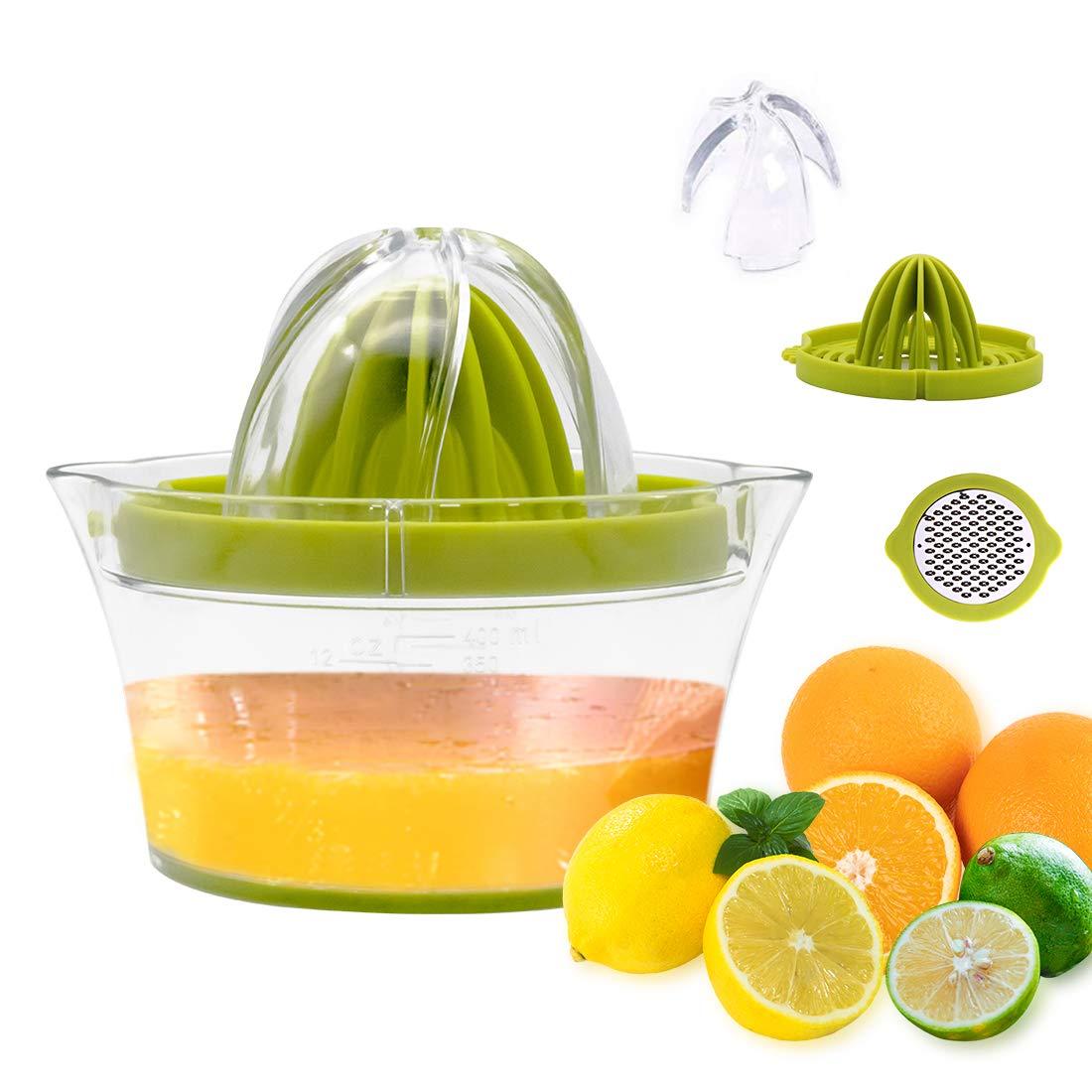 Multifunctional Citrus Juicer Manual Lemon Squeezer with Container 400ml Lemon Orange Squeezer Dishwasher Safe Plastic Anti-drip Filter Mechanism BPA-Free