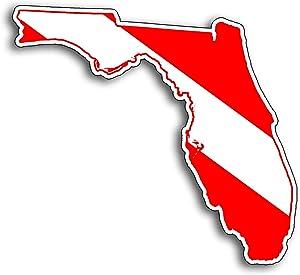 Florida State Shape Scuba Dive Sticker Diver Down Flag Symbol Vinyl Window Bumper Decal for Cup Boat Tank Car Truck FL