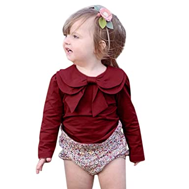 9c5bb586 Toddler Baby Girl Cute Bowknot Neckline T-Shirt Pure Color Top Tee Clothes  (1