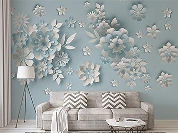 Estilo nórdico 3D en relieve floral fondo papel de pared mural ...